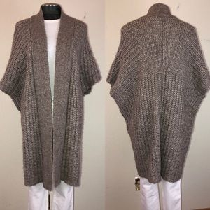 Calypso Thick Knit Long Open Poncho Cardigan
